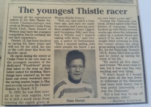 """Westport News """"The youngest Thistle racer"""""""